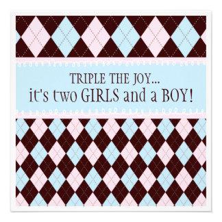 Triple the Joy Argyle Boy Girl Triplet Baby Shower Personalized Announcement