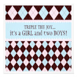 Triple the Joy Argyle Boy Girl Triplet Baby Shower Personalized Invitation