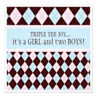 Triple the Joy Argyle Boy Girl Triplet Baby Shower Personalized Invitation