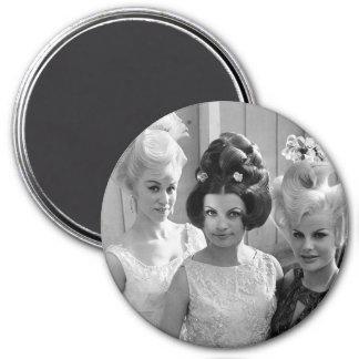 Triple Threat High Hair 3 Inch Round Magnet