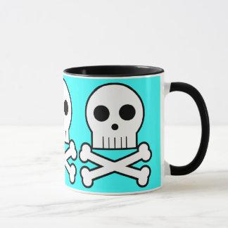 Triple Threat Pirate Skulls Coffee Cup Aqua