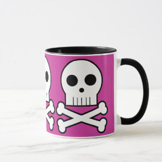 Triple Threat Pirate Skulls Coffee Cup Pink