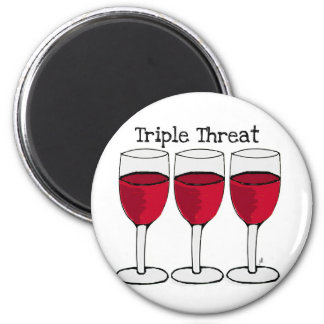 TRIPLE THREAT WINE TRIO PRINT 2 INCH ROUND MAGNET