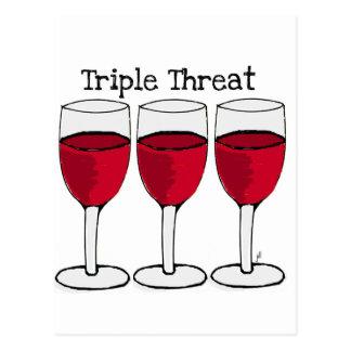 TRIPLE THREAT WINE TRIO PRINT POSTCARD