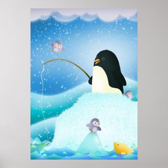 Triple trouble penguins - poster print