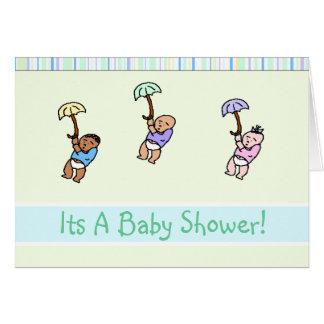 Triple Umbrella Baby Shower Invitation Card