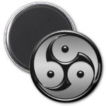Triple Yin Yang - Metal & Glossy Black 2 Inch Round Magnet