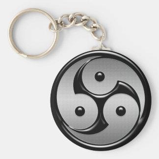 Triple Yin Yang - Metal & Glossy Black Basic Round Button Keychain