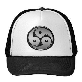 Triple Yin Yang - Metal & Glossy Black Trucker Hat