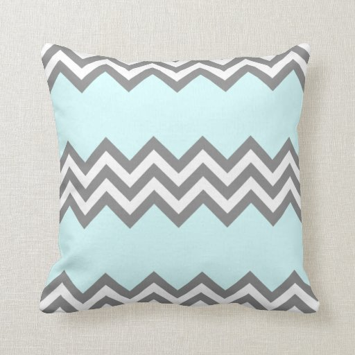 Triple Zigzag Pillow in Grey and Mint
