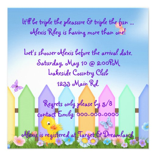 Triplet Baby Shower Personalized Invitations (back side)