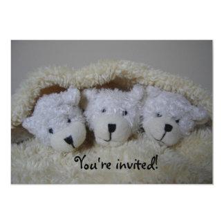 Triplet bears baby shower invitation