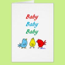Triplet Birth Greeting Card
