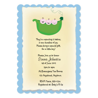 Triplet boy 'Peas in a Pod' baby shower invite