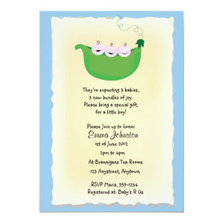 Triplet boy 'Peas in a Pod' baby shower invite