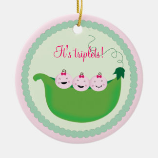 Triplet Girl 'Sweet pea' baby shower ornament