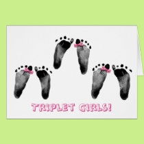 Triplet Girls Congratulations Card