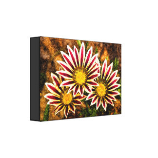 """Triplet of Flowers Canvas Art 2.5"""" Thick Canvas Print"""