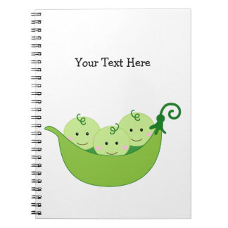 Triplet Pea Pods (customizable) Spiral Notebook