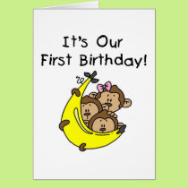 Triplets 1st - Two Boys, One Girl Card