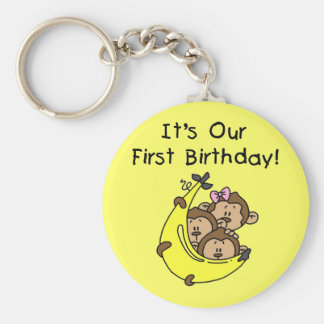 Triplets 1st - Two Boys, One Girl Basic Round Button Keychain