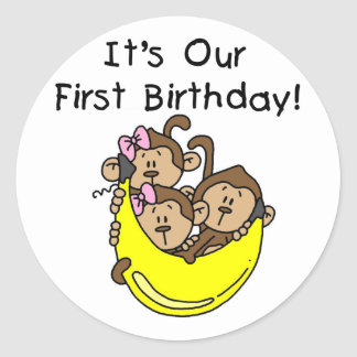 Triplets 1st - Two Girls One Boy Tshirts and Gifts Sticker