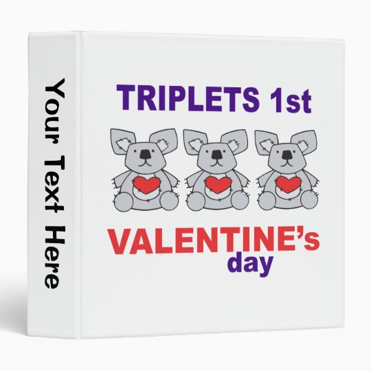 Triplets 1st Valentines Day 3 Ring Binder