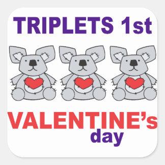 Triplets 1st Valentines Day Square Sticker