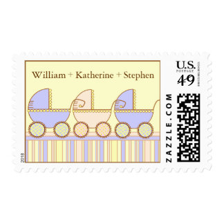 Triplets 2 Boys 1 Girl Baby Personalized Postage