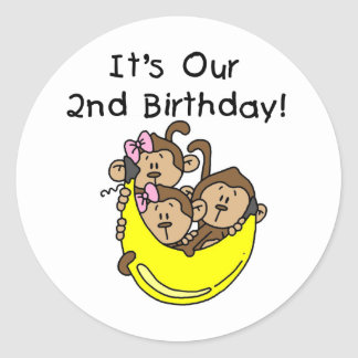 Triplets 2nd - Two Girls and a Boy Round Stickers