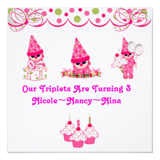Triplets are Turning Three Birthday Invites