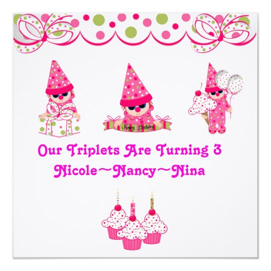 Triplets are Turning Three Birthday Invites