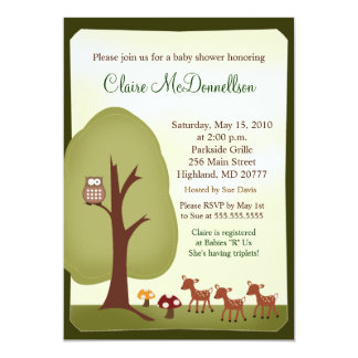 "TRIPLETS Baby Deer Woodland Forest Baby Shower 5"" X 7"" Invitation Card"