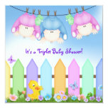 "Triplets Baby Shower 5.25"" Square Invitation Card"