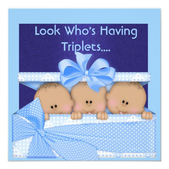 TRIPLETS BABY SHOWER BLUE AFRICAN AMERICAN INVITE