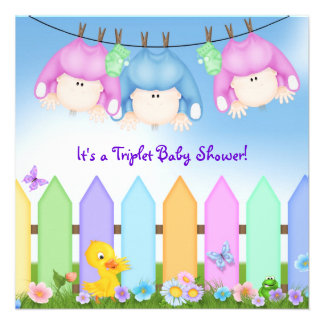 Triplets Baby Shower Personalized Invitations