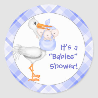 Triplets Baby Shower Stickers