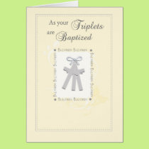 Triplets Baptism Card in Yellow with 3 Crosses