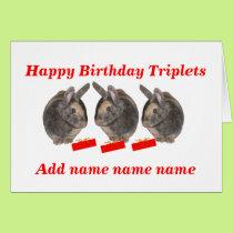 Triplets Birthday Card, add names Card
