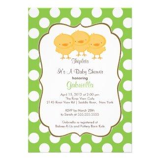 Triplets Chick Baby Shower Invitation Green