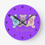Triplets Childrens Learning Wall Clock