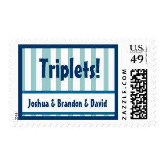 TRIPLETS - Custom Name Baby BOY Announcement Stamp