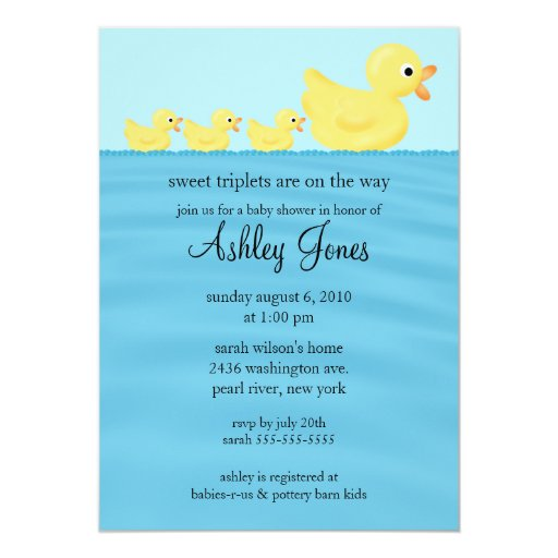 "Triplets Duck Baby Shower 5"" X 7"" Invitation Card"