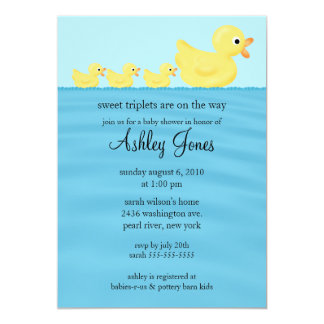 Triplets Duck Baby Shower Card