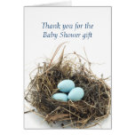 Triplets Eggs in Nest Baby Shower Thank You Card