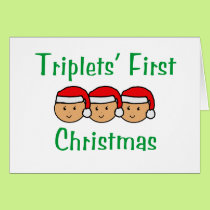 Triplets First Christmas - Santa Hats (no date) Card
