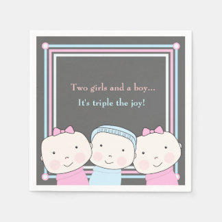 Triplets Girl Boy Pink Blue Baby Joy Napkin Standard Cocktail Napkin