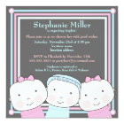 Triplets Girl Boy Pink Blue Baby Shower Invitation