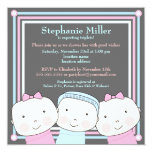 "Triplets Girl Boy Pink Blue Baby Shower Invitation 5.25"" Square Invitation Card"
