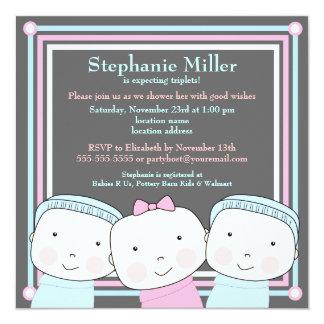 Triplets Girl Boy Pink Blue Baby Shower Invitation